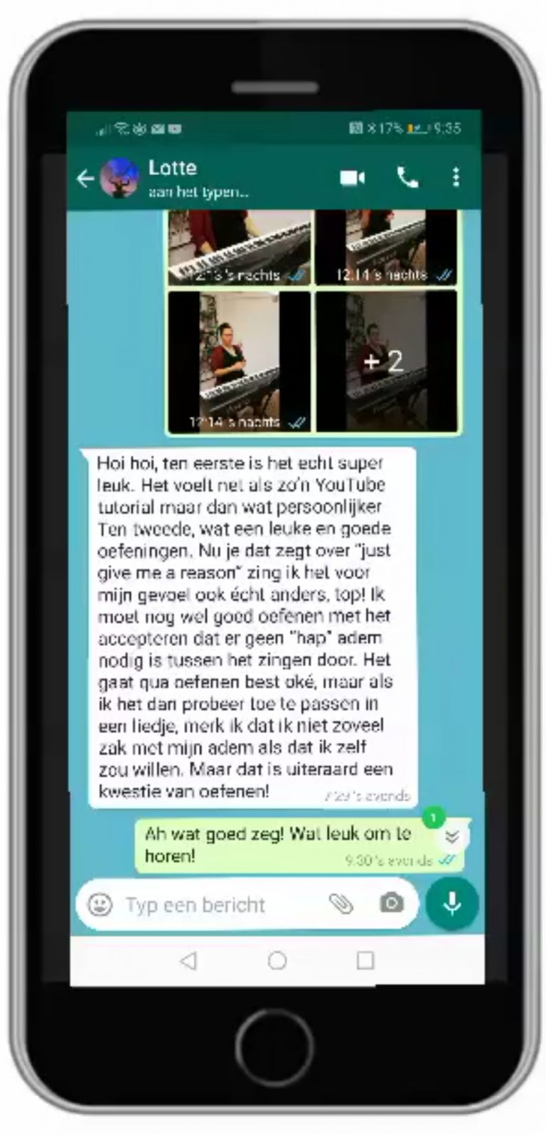 WhatsApp zangles testimonial Lotte