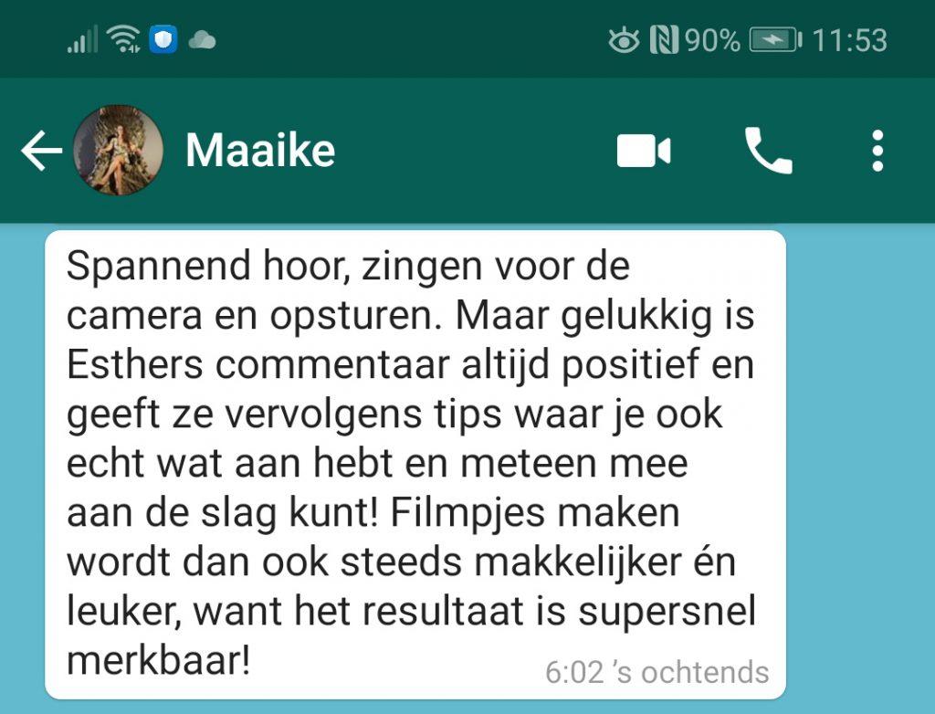 WhatsApp zangles testimonial Maaike