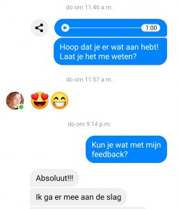 WhatsApp zangles testimonial Mischa